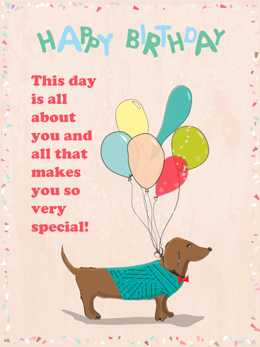 Dog & Balloons – Happy Birthday Card