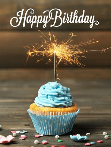 Blue Cake and Sparkling Candle – Happy Birthday Card