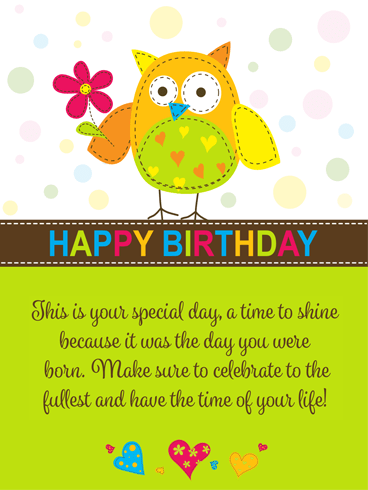 Super Cute Owl – Happy Birthday Card