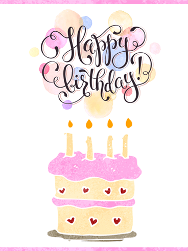 Yummy Pink Frosting – Happy Birthday Card