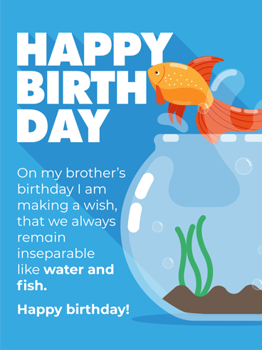 Goldfish In A Tank – Birthday Card for Brother