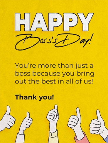 Thumbs Up! –  Happy Boss's Day Cards