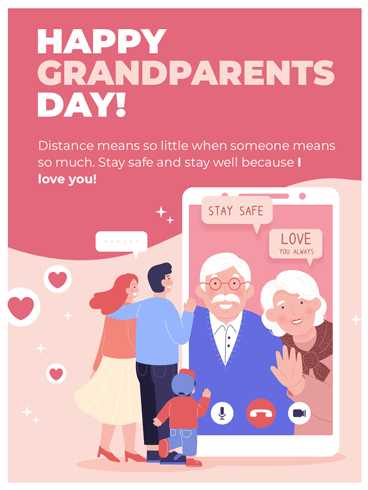 Distance Means Nothing – Happy Grandparents Day Card