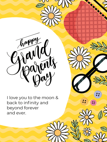 Glasses & Flowers – Happy Grandparents Day Card