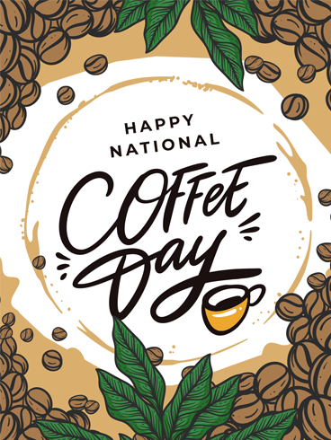 Beans & Cup –  National Coffee Day Card