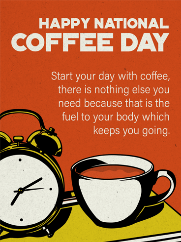 Coffee & Clock – National Coffee Day Card