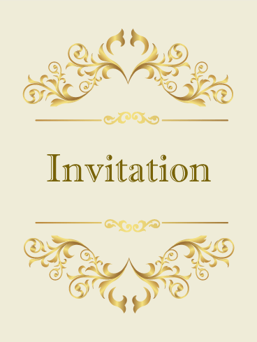 Classic Golden Invitation Card