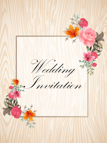 Elegant Flower Frame Invitation Card