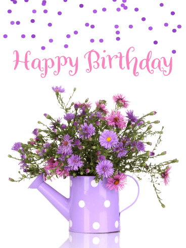 Purple Flowers & Polka Dots – Happy Birthday Card