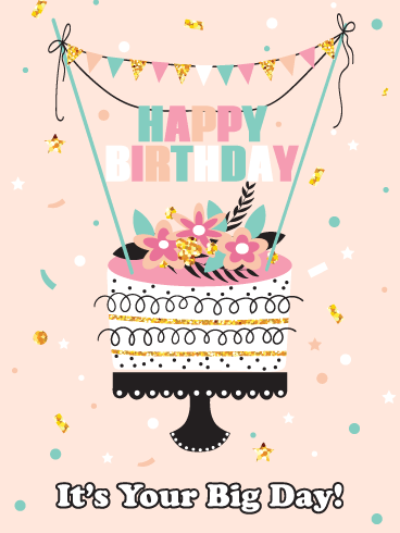 Fancy Celebration Cake – Happy Birthday Card