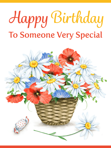 Lovely Flowers in Basket – Happy Birthday Card
