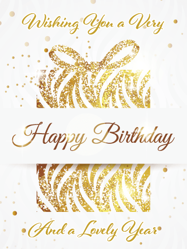 Sparkling Golden Gift – Happy Birthday Card
