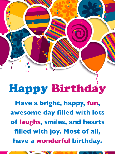 Festive Colorful Balloons – Happy Birthday Card