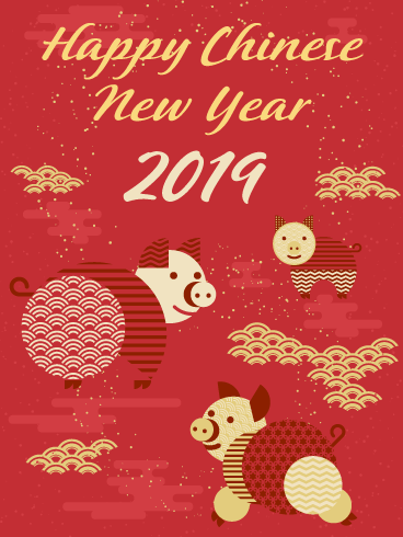 Pig Fortune - Happy Chinese New Year Card for 2019
