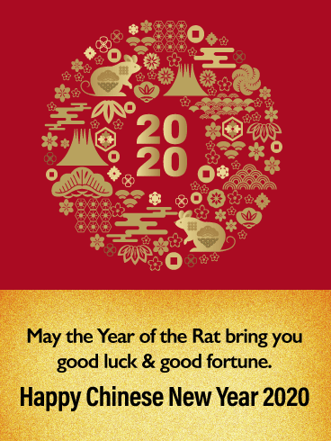 The Year of Golden Rat - Happy Chinese New Year Card for 2020