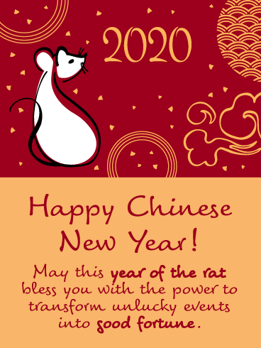 Year of the Rat - Happy Chinese New Year Card for 2020