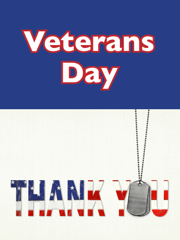 Thank You Dog Tags - Veterans Day Card