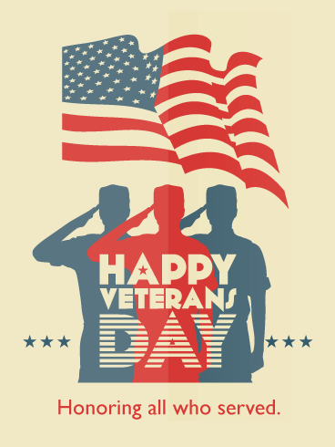 Saluting Silhouettes - Happy Veterans Day Card
