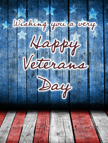 Wooden Red, White, and Blue - Happy Veterans Day Card