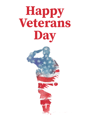 Watercolor Soldier Salute - Veterans Day Card