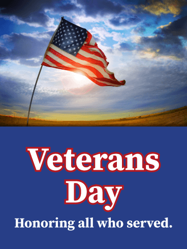 American Flag Waving- Veterans Day Card