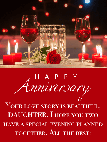 Beautiful Love Story - Happy Anniversary Card for Daughter