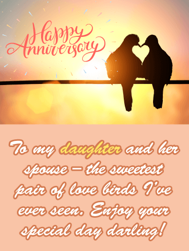 Love Birds - Happy Anniversary Card for Daughter