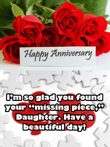 Missing Piece - Happy Anniversary Card for Daughter
