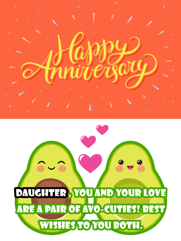 Avocado Cuties - Funny Anniversary Card for Daughter