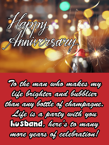 More Fun Than Champagne - Happy Anniversary Card for Husband