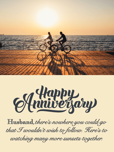 Chasing Sunsets - Happy Anniversary Card for Husband