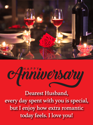 Romantic Day - Happy Anniversary Card for Husband