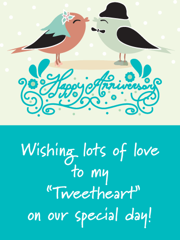 Sweetheart Birds - Happy Anniversary Card for Husband
