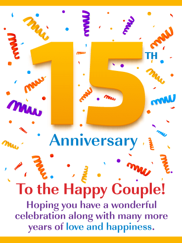 Love & Happiness – Happy 15th Milestone Anniversary Card for Couple