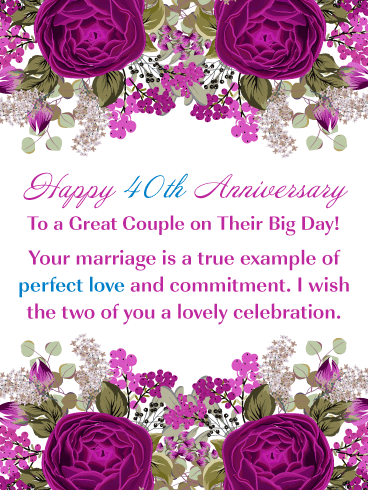 Beautiful Roses – Happy 40th Milestone Anniversary Card for Couple