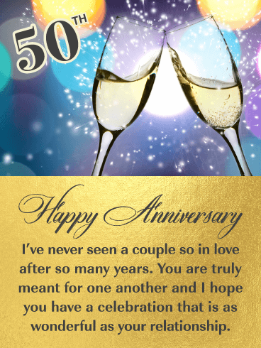 So in Love!  Happy 50th Milestone Anniversary Card for Couple