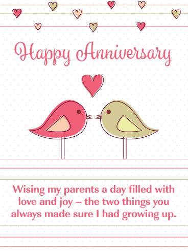 Love Birds – Happy Anniversary Card for Parents