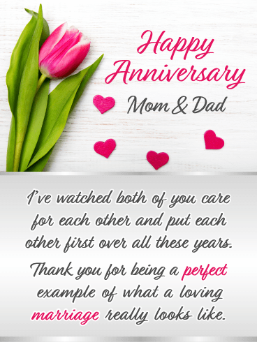 A Perfect Marriage – Happy Anniversary Card for Parents