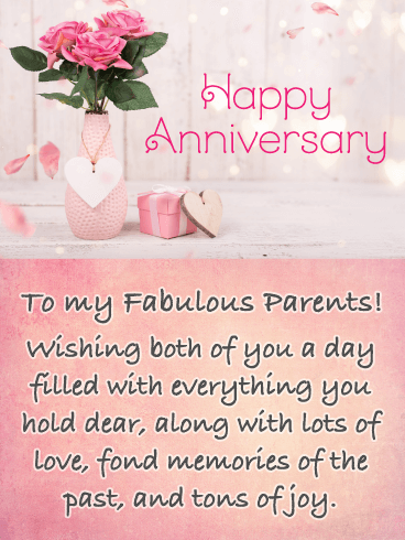 Fond Memories - Happy Anniversary Card for Parents