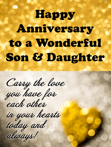 Sparkling Love - Happy Anniversary Card for Son and Daughter
