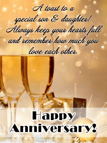 Unforgettable Celebration - Happy Anniversary Card for Son and Daughter