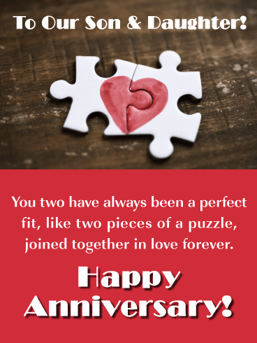 A Perfect Fit! - Happy Anniversary Card for Son and Daughter