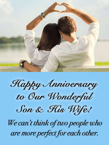 Perfect for Each Other - Happy Anniversary Card for Son and Daughter
