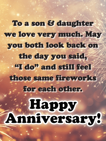 The Long-lasting Sparks - Happy Anniversary Card for Son and Daughter