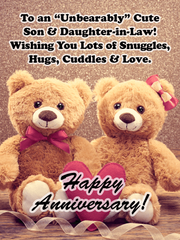 "An ""Unbearably"" Cute Couple - Happy Anniversary Card for Son and Daughter"