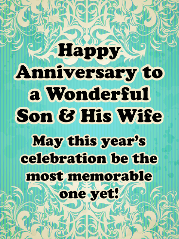 The Most Memorable Celebration - Happy Anniversary Card for Son and Daughter