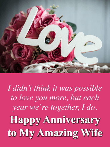Love You More - Happy Anniversary Card for Wife