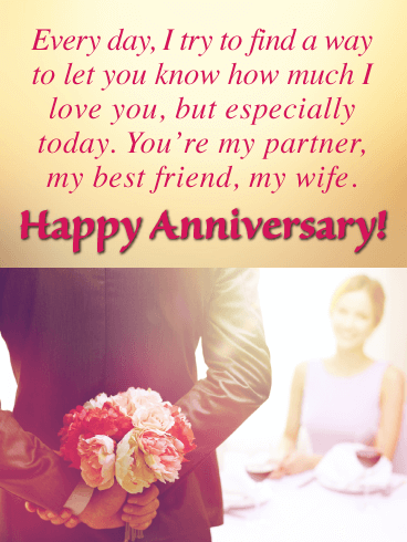 My Partner, Best Friend, Wife - Happy Anniversary Card for Wife