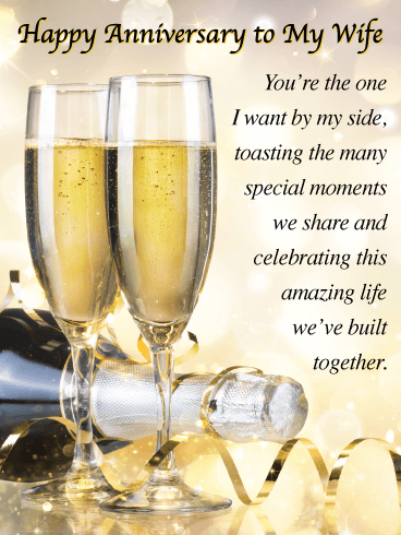Toasting the Many Special Moments - Happy Anniversary Card for Wife