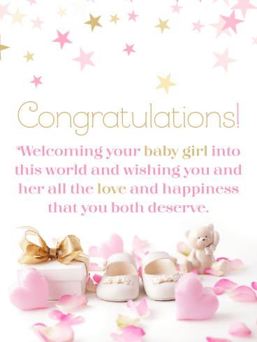 Hearts & Stars – Baby Girl Card